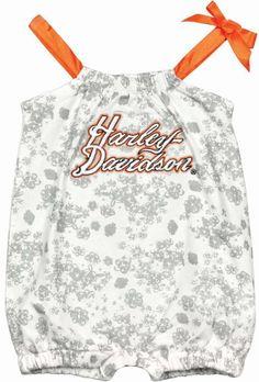 Harley-Davidson Baby Girls Logo Romper Outfit - Newborn - Biker Bodysuit #HarleyDavidson #Everyday
