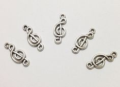 5 Pcs. G Clef Charms, G Clef Pendant, Music Notes Charm Spacers, Silver Antique Charms, Necklace Charms, Jewelry Charms, Vintage Accessories on Etsy, $2.00