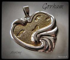 Gorham sterling - footsteps pendant - askeleet hopeariipus