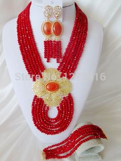 Find More Jewelry Sets Information about Fashion African beads jewelry set red crystal beads bride jewelry nigerian wedding african beads jewelry Set C1413,High Quality necklace and earring box,China necklace finding Suppliers, Cheap necklace cotton from Chinese jewelry import and export co., LTD on Aliexpress.com