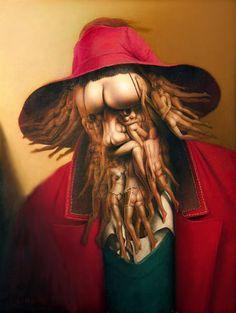 Surrealism and Visionary art: Andre Martins de Barros Illusion Kunst, Illusion Art, Illusion Paintings, Art Optical, Optical Illusions, Art Gallery Online, Art Visionnaire, Art Magique, Le Clown