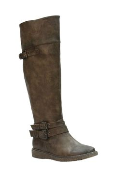 Eddie Marc Libby Over The Knee Flat Boot In Khaki - Beyond the Rack