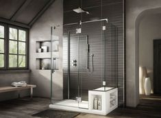 Modern shower stall with seat