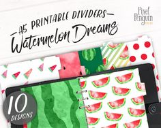 Watermelon Design, Printable Dividers, Filofax A5 Divider, Printable Planner Pages, Kikki Planner, Summer Graphic, Binder Divider, Print Tab by PixelPenguinPress on Etsy.  www.pixelpenguinpress.etsy.com
