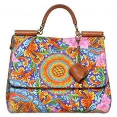 DOLCE & GABBANA / SOFT MISS SICILY PRINTED CANVAS BAG