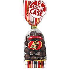 6 oz bags of Chocolate Malt balls from Jelly Belly in a 12-count case. Big. crispy malt balls smothered in thick milk chocolate. A real treat! Chocolate