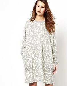 ASOS Oversized Sweat Dress In Animal Print