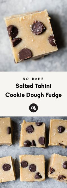 bake healthy cookie dough fudge made with just three simple ingredients — tahini, coconut oil, maple syrup and salt. This absolutely delicious and easy low carb dessert with be your new favorite treat to keep in the freezer! Cookie Dough Fudge, Healthy Cookie Dough, Healthy Cookies, Healthy Sweets, Healthy Baking, Healthy Dessert Recipes, Healthy Fudge, Vegan Fudge, Cookies Vegan
