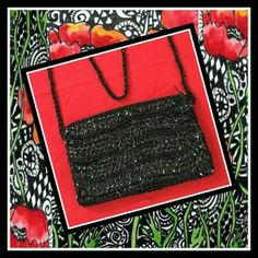 """Vintage Black Bead Sequin Cocktail Evening Purse. Elegant Hand Beaded Vintage Cocktail Black Bead and Sequin purse.  The strap is covered in tiny small beads and has an 18"""" drop.  Length=8"""" Width=4.5""""  Luxurious Black satin lining with small slip pocket for small items  Tiny Zipper closure   Great Vintage condition with no visible flaws.  Signed Walborg made in Macau  Check out m other UNIQUE accessories! Walborg Bags Clutches & Wristlets"""