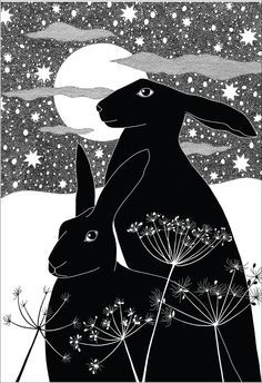 illustration drawing - rabbit - queen anne's lace - moon - winter - stars - black + white