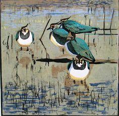 Robert Greenhalf (1950-):  Lapwings, woodcut. Wah, this is inspirational! :D