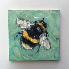 "2x2"" oil on panel. #beeartwork #bees #beeart #brushstrokes #colorful #nature #birdlover #beehive #miniaturepaintings #impressionistic #beesofinstagram #art #garden #whimsical #laveryart #etsy #colorfulart #dailypaintings"