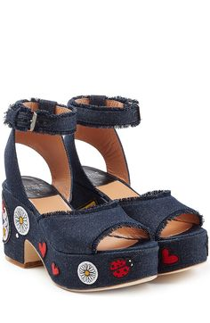 Plateau-Wedge-Sandalen Happoline Pop mit Denim und Patches detail 0
