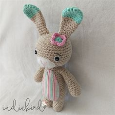 Crochet Bunny, Amigurumi Soft Toy, Bunny Toy, Mint/Pink Crochet Bunny, Crochet Hats, Kids Room Accessories, Use Of Plastic, Bunny Toys, Cute Bunny, Hand Sewing, Printing On Fabric, Cotton Fabric