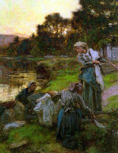 "Léon Augustin L'hermitte... | Kai Fine Art  --  ""Washerwomen by the Banks of the Marne"""