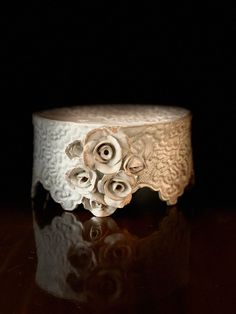 Roses and Lace Pottery | Roses and Lace Pottery Pottery Designs, Pottery Ideas, Cake Carrier, Pottery Handbuilding, Soap Holder, Ceramics Projects, Small Cake, Pottery Studio, Cold Porcelain