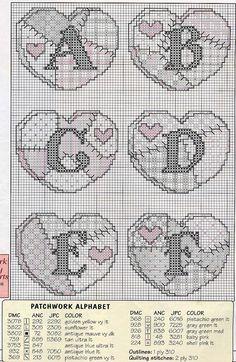 Abc Patchwork free cross stitch pattern part 1 Cross Stitch Alphabet Patterns, Embroidery Alphabet, Cross Stitch Letters, Cross Stitch Heart, Cross Stitch Designs, Stitch Patterns, Cross Stitching, Cross Stitch Embroidery, Patchwork Heart