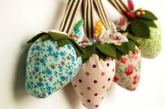 strawberry pincushions with Heather Bailey pattern