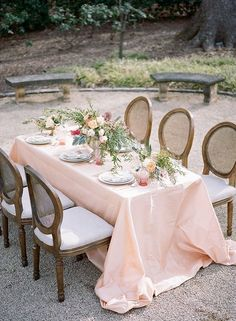 a skirted table for outdoor dining party