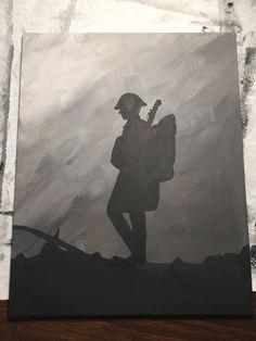 Silhouette of World War One soldier canvas art