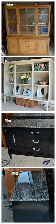Before and After - Dining Hutch & Desk - 100 Things 2 Do #repurposedfurnitureforbathroom