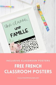 This is a set of 4 FREE classroom posters in French to promote an inclusive environement. To receive these posters, you can join my mailing list by clicking the link. French Classroom Decor, Inclusion Classroom, Free In French, French Resources, Vocabulary Cards, Classroom Posters, Blank Cards, Teacher Resources, Bulletin Boards