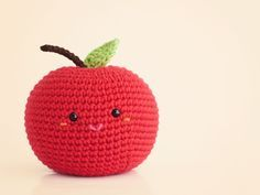 Amigurumi Apple Finished size is about 3 inches wide and 3 inches tall (including the stem) Crochet hook: 2.5mm Yarn in fingering/baby weight in colors red, brown, and green. Along with small amount of pink and orange for face details Stem Use brown,...