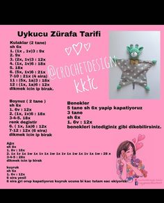 from – 🤗Uykucu Zürafa Tarifi 📣📣📣 Uyku arkadasinin tasarimi bana ait degil. Siparis icin gorselden bakarak… We think … Crochet Bunny Pattern, Crochet Birds, Crochet Patterns, Crochet Baby Toys, Crochet For Kids, Corner To Corner Crochet Pattern, Sheep Tattoo, Wand Tattoo, Amigurumi Patterns