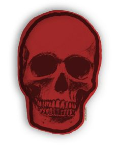 """The Rise and Fall Skull Pillow  Red 22"""""""