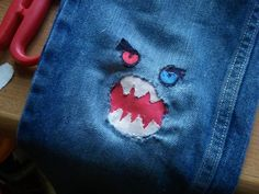 """Problem: ripped knees in jeans   Solution: Monster Mouth...saw this on here earlier...one word """"Awesome"""" :)"""