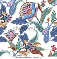 Fantasy flowers seamless paisley pattern. Floral ornament, for fabric, textile, cards, wrapping paper, wallpaper template.Ornamental bright background