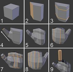 Building the Basic Hand Shape Figure shows the modeling process for a hand. You can model it wherever you want and move and scale it later according to the … - Selection from Learning Blender: A Hands-On Guide to Creating Animated Characters [Book] Blender 3d, Blender Models, 3d Max Tutorial, Zbrush Tutorial, Maya Modeling, Modeling Tips, 3d Model Character, Character Concept, Maya Character Modeling