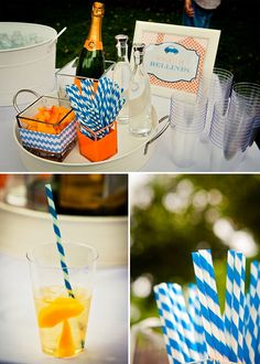 a variety of square IKEA vases used as a fabulous drink display - SUCH a cheap and FUN option for a party!
