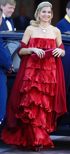 Crown Princess Maxima at final Dinner for Queen Beatrix. Maxima is wearing Valentino.