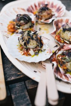 scallop canapes by donostia social club at our may warehouse wedding liz linkleter event planning