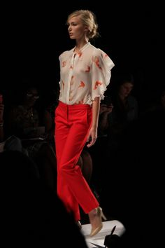 love the soft print with a pop of bright pants. - Vivienne Tam S/S 2012 Collection at NYFW #NYFW #MBFW #fashion #runway #collection