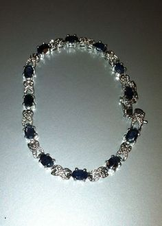 $19.99 Aferra Jewelry Stunning Sterling Silver 925 Blue Sapphire XOXO Link Bracelet 7 5 Perfect Gift