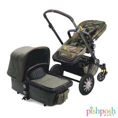 Bugaboo + Diesel Collection – Coming this Fall 2014! The Bugaboo Diesel Cameleon3 features a dark green anodized base, 2 ply green canvas fabrics, wheels with the Diesel logo and gold metal start, and faux leather handlebar and carry handle. It features a specially designed removeable pocket as well – pretty cool, no? http://site.pishposhbaby.com/blog/2013/12/18/bugaboo-diesel-collection/