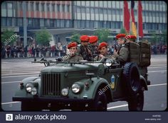 Soldiers ride in jeep in May Day Parade, East Berlin, German Democratic Republic, May 1, 1974.