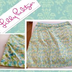 """Lilly Pulitzer White Label Skirt/Skort Size 10 wow Lilly Pulitzer Skort {great for tennis, golf, and everyday}. White label. White linen shorts sewn into Skort. No stains, tears, or rips. The inside button on the front left pocket is missing {as pictured} but can easily be replaced. It's not noticeable but I did want it noted for my repeat """"Lilly girls"""" :) Palm Tree stitched into the bottom on right side. Length: 7"""" when measured from top to bottom Width: 5"""" when measured side to side Tags…"""