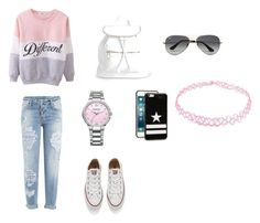 """""""cool girl"""" by belauskastz ❤ liked on Polyvore featuring Dsquared2, Converse, Boohoo, Swarovski, Ray-Ban, Givenchy, women's clothing, women, female and woman"""