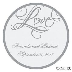 """Personalized """"Love"""" Wedding Favor Stickers, Favor Stickers & Seals, Invitations & Stationery, Party Themes & Events - Oriental Trading"""