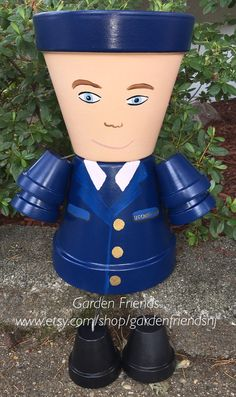 X-Large US Army Navy Coast Guard Clay Planter Pot  People