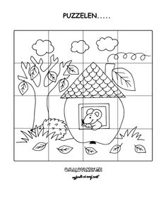 * Kleuren en Puzzelen.... Preschool Worksheets, Preschool Activities, Math Charts, Autism Awareness Month, Fall Preschool, Animal Activities, Picture Story, Classroom Posters, Learning Centers