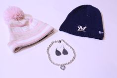 Get this look at the #Brewers Team Store:  Pink Knit Hat- $35.00Knit Hat- $35.00 Teardrop earrings- $60.00 Heart Charm Necklace- $40.00