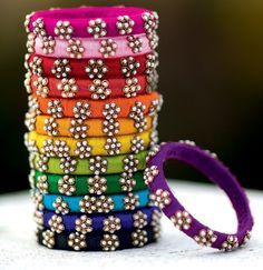 Accessorize in Hyderabad has an array of raw silk bangles for the brides-to-be.%0A
