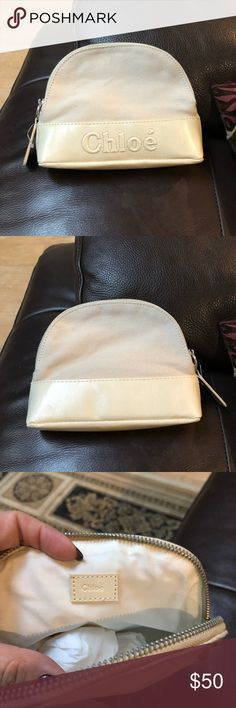 Chloe Cosmetic Bag Authentic, never used Has small stain on the inside as pictured Chloe Bags Cosmetic Bags & Cases