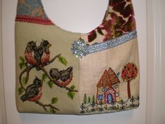 vintage embroidered needlepoint hobo bag by lyndasdesigns1 on Etsy, $198.00