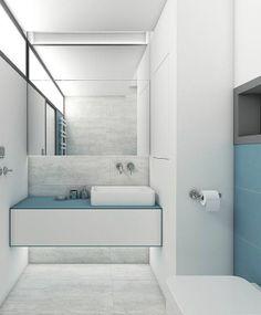 Svetlý obklad a veľké zrkadlo pridajú kúpeľni opticky na veľkosti, obklad Sundance, Perfecto design