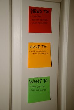 Organizing your to-do list, use Priority Post It Notes: as easy as slapping sticky notes on a wall, board, or the back of a door. The color of the paper represents the urgency of completing the task!